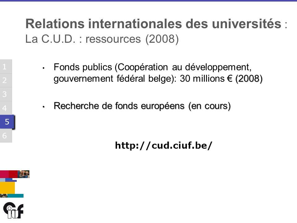 5 5 3 6 1 2 4 5 5 3 6 1 2 4 5 5 3 6 1 2 4 5 5 3 6 1 2 4 5 5 3 6 1 2 4 5 5 3 6 1 2 4 (2008) Fonds publics (Coopération au développement, gouvernement fédéral belge): 30 millions (2008) Recherche de fonds européens (en cours) Recherche de fonds européens (en cours) http://cud.ciuf.be/ Relations internationales des universités : La C.U.D.