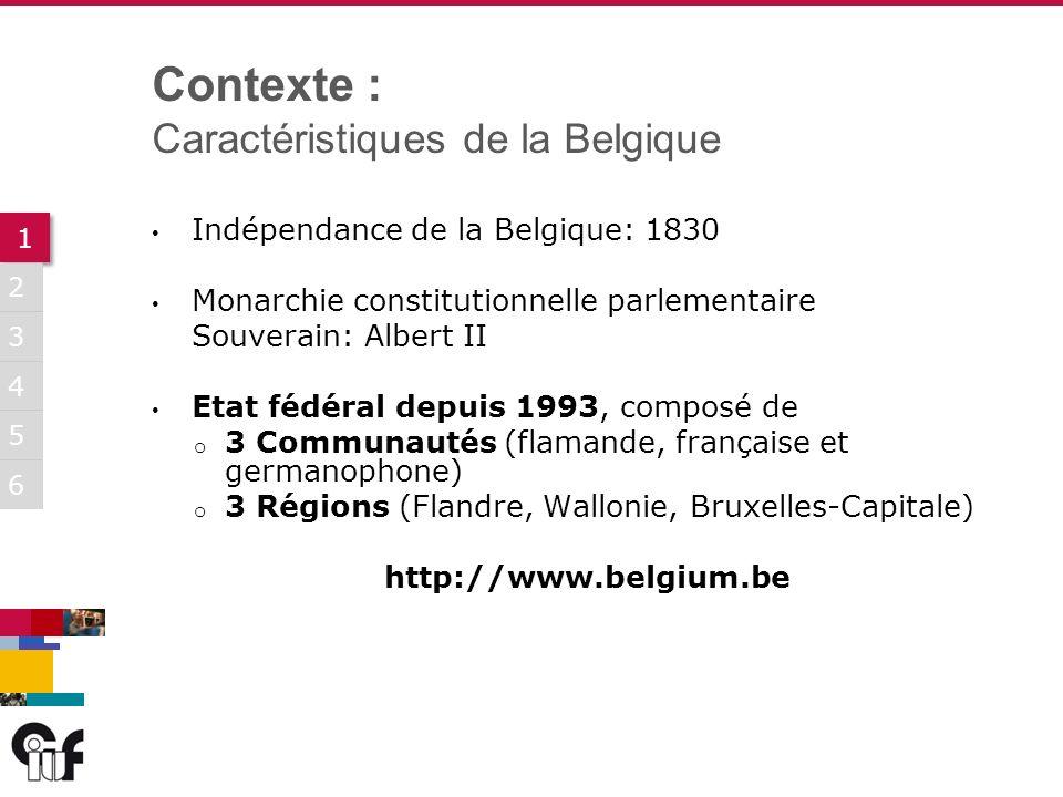 5 3 6 1 1 2 4 Indépendance de la Belgique: 1830 Monarchie constitutionnelle parlementaire Souverain: Albert II Etat fédéral depuis 1993, composé de o 3 Communautés (flamande, française et germanophone) o 3 Régions (Flandre, Wallonie, Bruxelles-Capitale) http://www.belgium.be Contexte : Caractéristiques de la Belgique