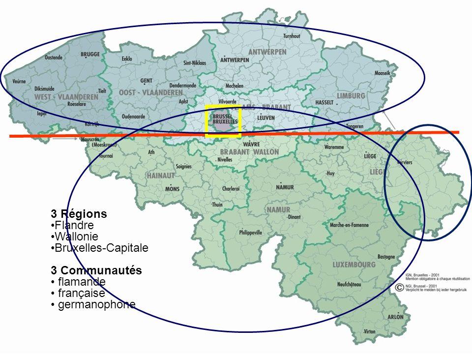 5 3 6 1 1 2 4 8 3 Régions Flandre Wallonie Bruxelles-Capitale 3 Communautés flamande française germanophone
