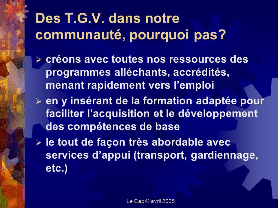 Le Cap © avril 2005 Des T.G.V. dans notre communauté, pourquoi pas.