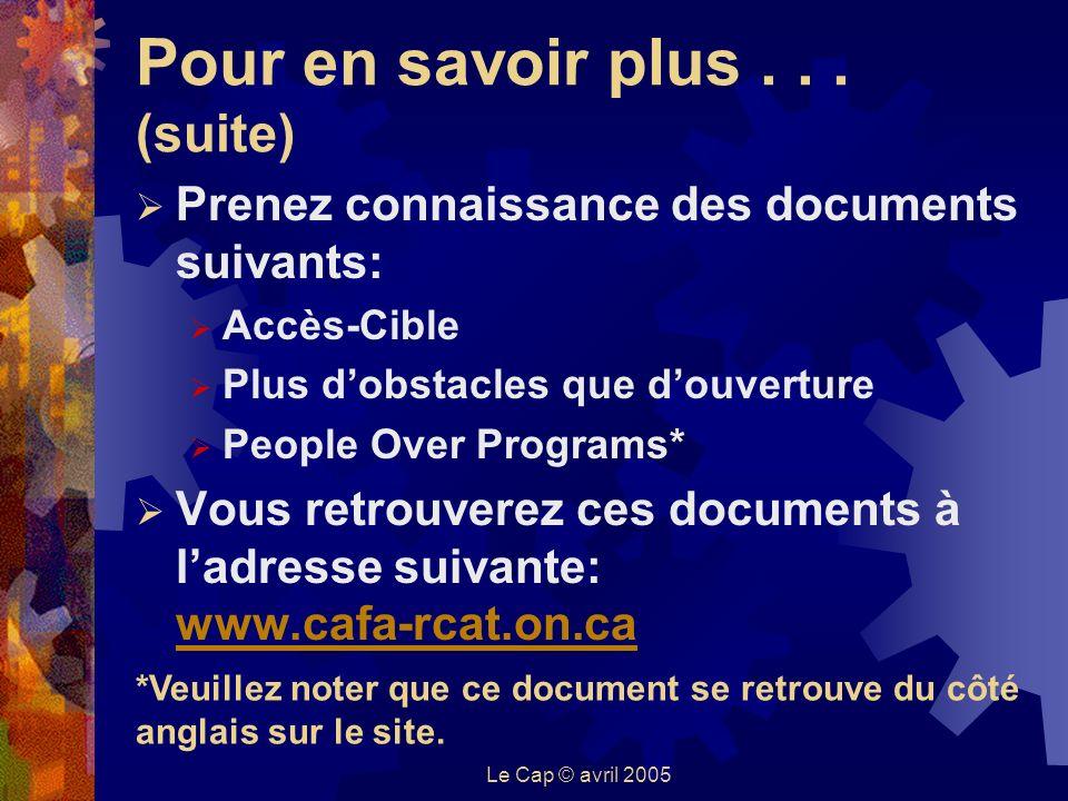 Le Cap © avril 2005 Pour en savoir plus...
