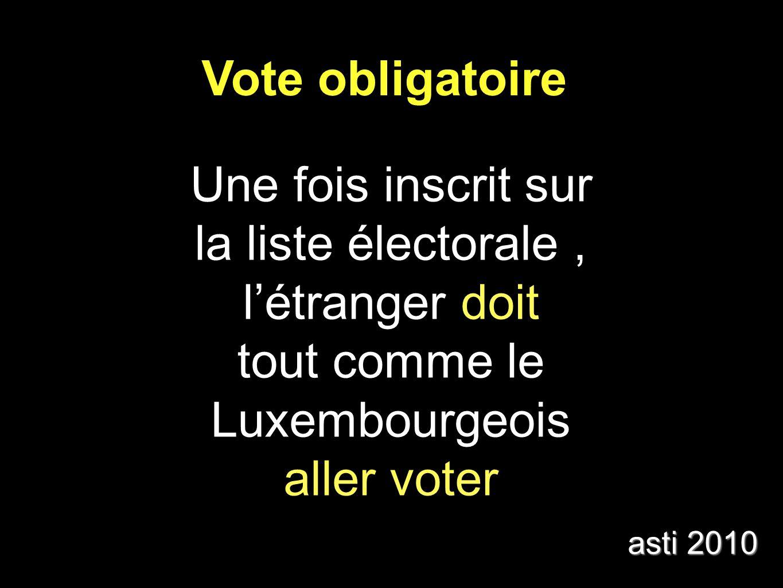 Vote obligatoire Une fois inscrit sur la liste électorale, létranger doit tout comme le Luxembourgeois aller voter asti 2010