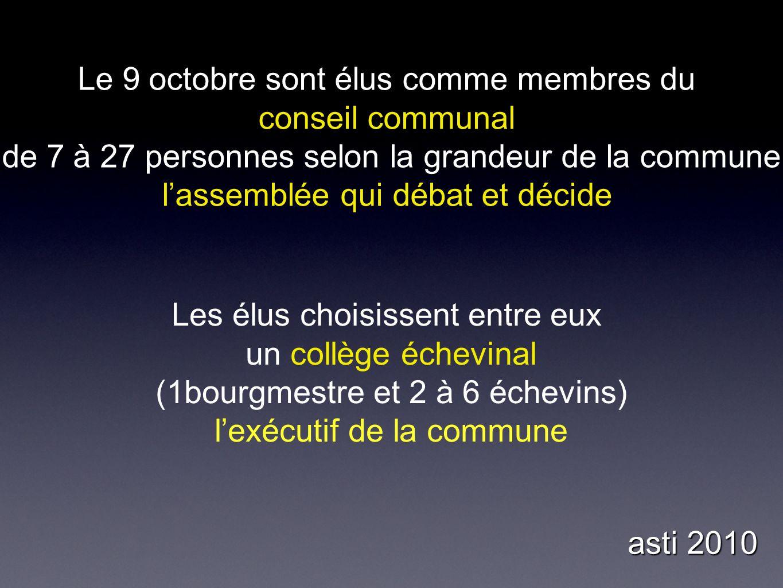 Le 9 octobre sont élus comme membres du conseil communal de 7 à 27 personnes selon la grandeur de la commune lassemblée qui débat et décide Les élus choisissent entre eux un collège échevinal (1bourgmestre et 2 à 6 échevins) lexécutif de la commune asti 2010