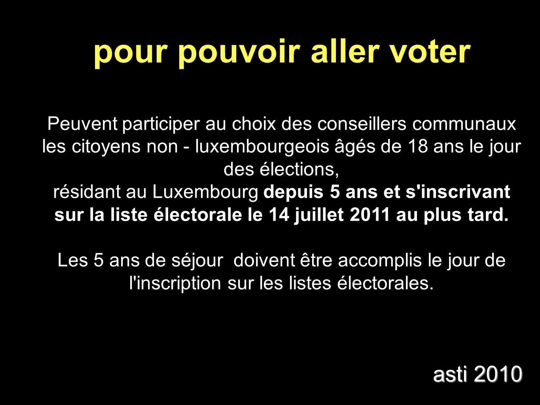 Peuvent participer au choix des conseillers communaux les citoyens non - luxembourgeois âgés de 18 ans le jour des élections, résidant au Luxembourg depuis 5 ans et s inscrivant sur la liste électorale le 14 juillet 2011 au plus tard.