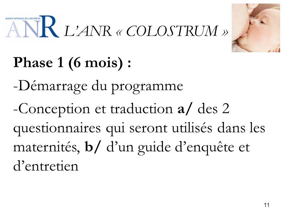 LANR « COLOSTRUM » Phase 1 (6 mois) : -Démarrage du programme -Conception et traduction a/ des 2 questionnaires qui seront utilisés dans les maternité