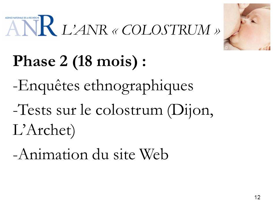 LANR « COLOSTRUM » Phase 2 (18 mois) : -Enquêtes ethnographiques -Tests sur le colostrum (Dijon, LArchet) -Animation du site Web 12