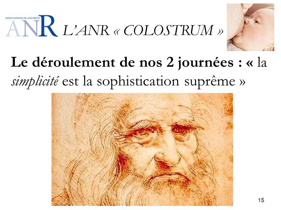 LANR « COLOSTRUM » Le déroulement de nos 2 journées : « la simplicité est la sophistication suprême » 15