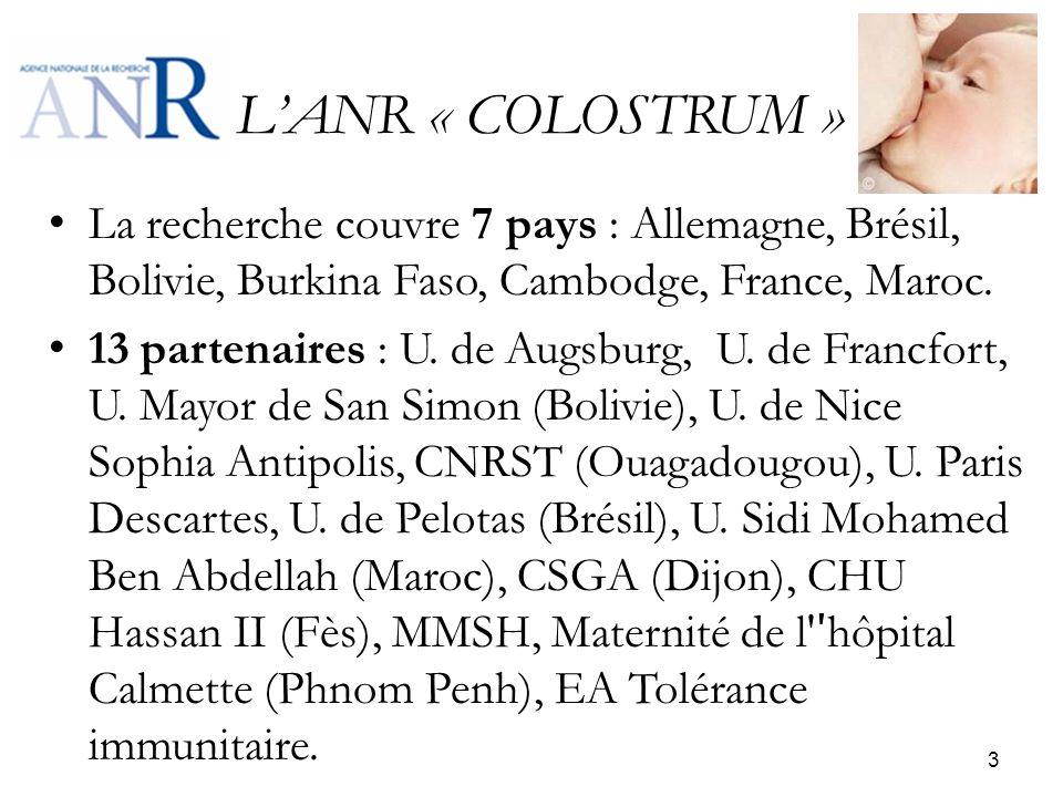 LANR « COLOSTRUM » La recherche couvre 7 pays : Allemagne, Brésil, Bolivie, Burkina Faso, Cambodge, France, Maroc. 13 partenaires : U. de Augsburg, U.