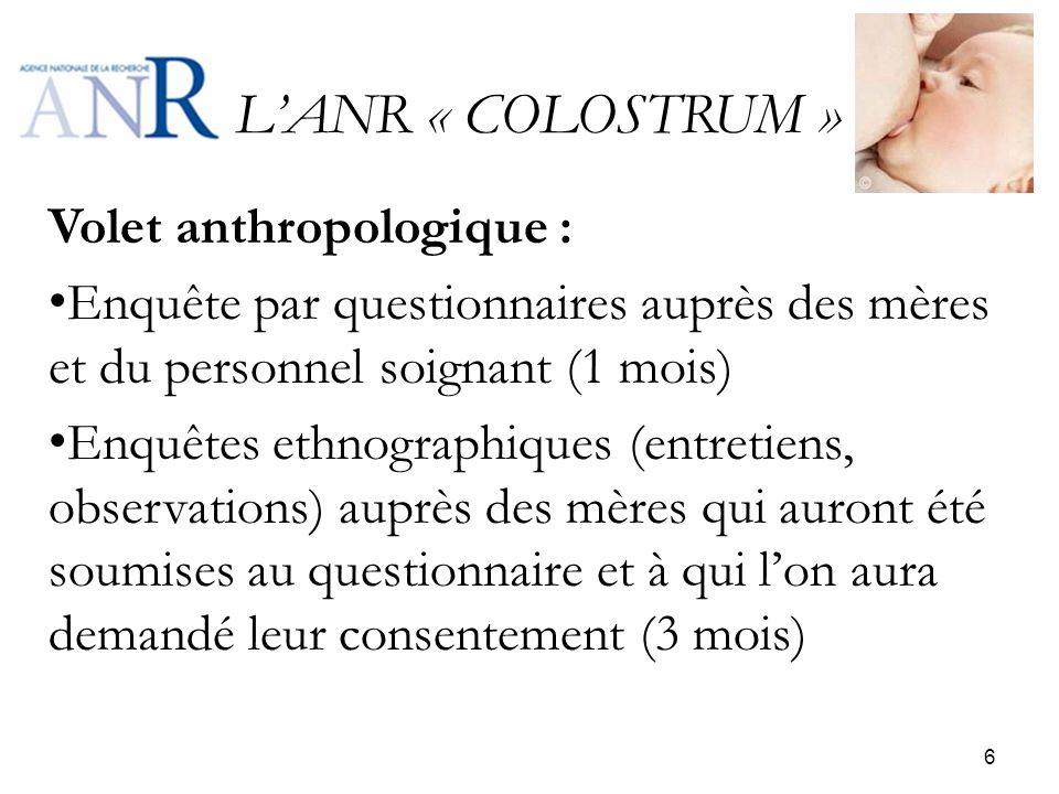 LANR « COLOSTRUM » Volet anthropologique : Enquête par questionnaires auprès des mères et du personnel soignant (1 mois) Enquêtes ethnographiques (ent