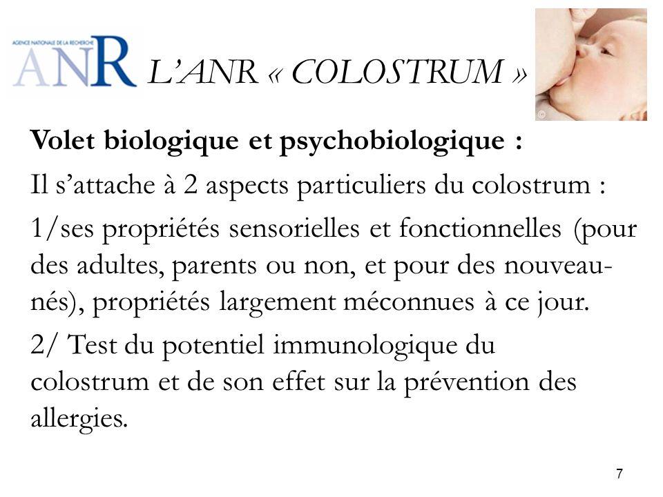LANR « COLOSTRUM » Volet biologique et psychobiologique : Il sattache à 2 aspects particuliers du colostrum : 1/ses propriétés sensorielles et fonctio