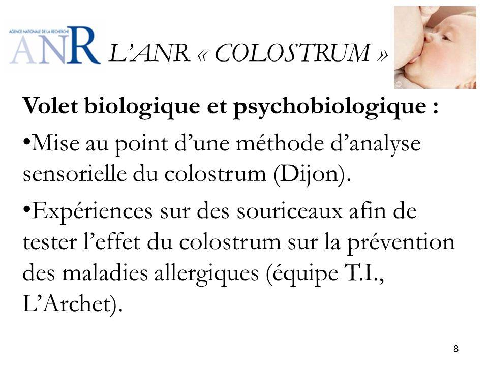 LANR « COLOSTRUM » Volet biologique et psychobiologique : Mise au point dune méthode danalyse sensorielle du colostrum (Dijon). Expériences sur des so
