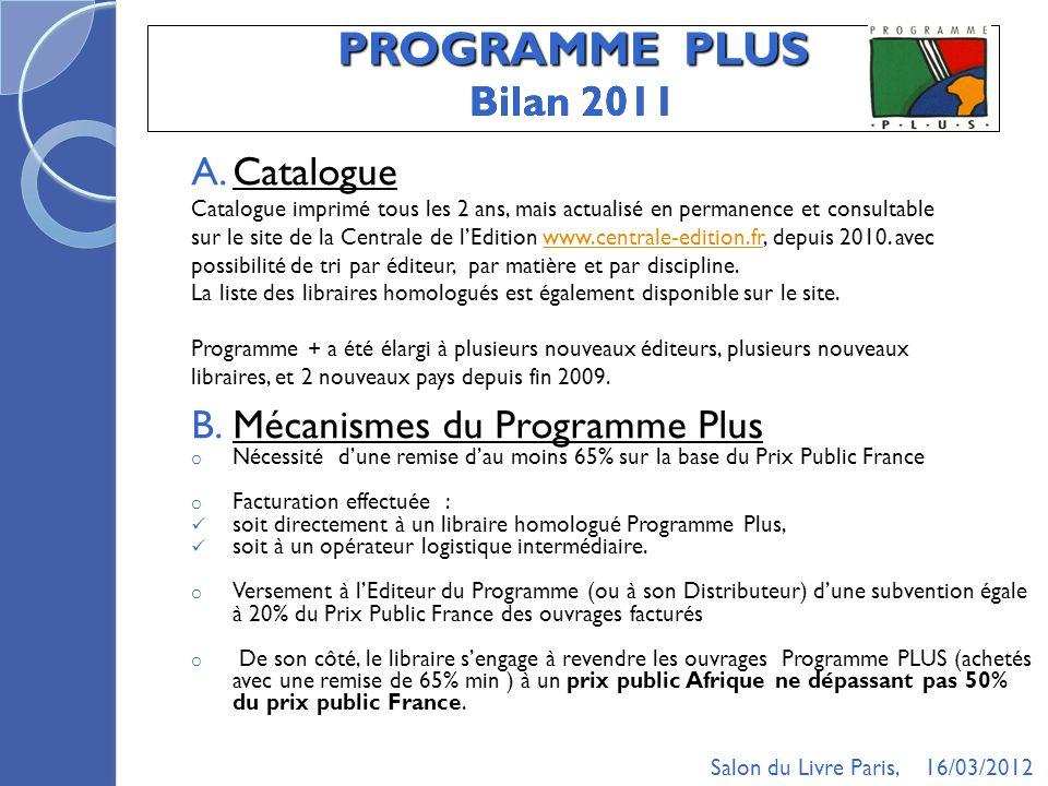 PROGRAMME PLUS Bilan 2011 A.Catalogue Catalogue imprimé tous les 2 ans, mais actualisé en permanence et consultable sur le site de la Centrale de lEdition www.centrale-edition.fr, depuis 2010.