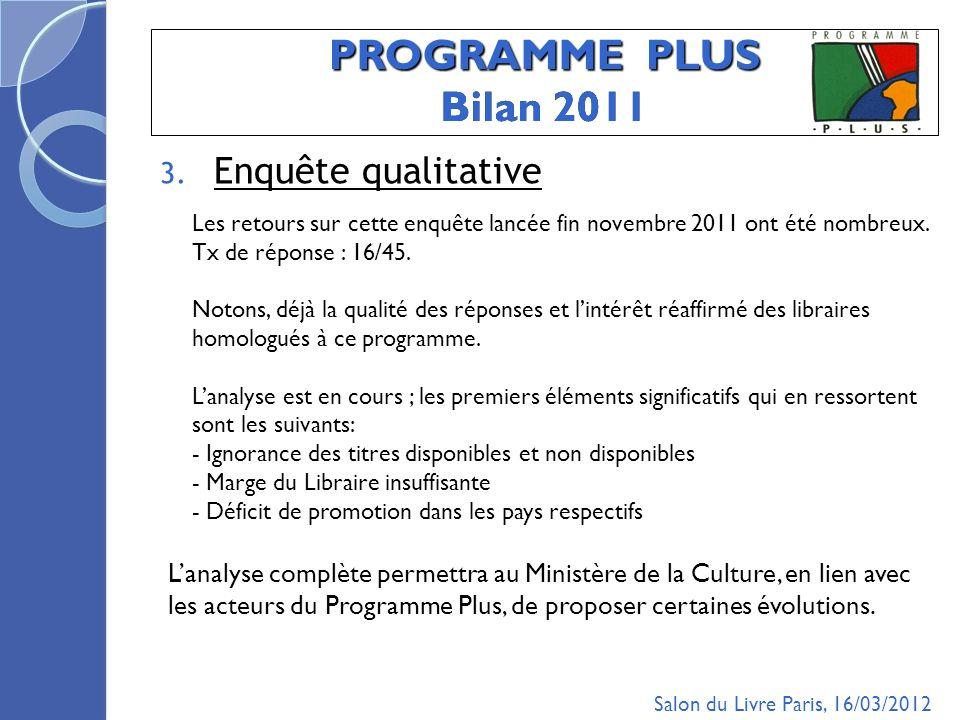 PROGRAMME PLUS Bilan 2011 3.
