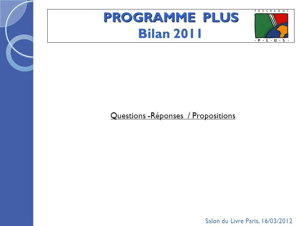 PROGRAMME PLUS Bilan 2011 Questions -Réponses / Propositions Salon du Livre Paris, 16/03/2012
