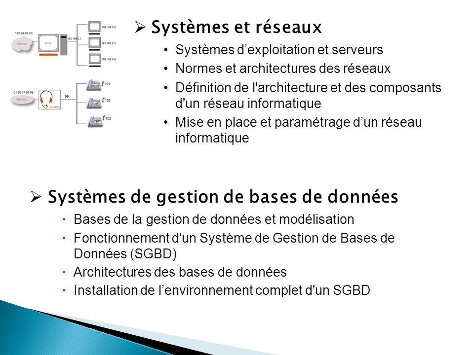 Systèmes et réseaux Systèmes dexploitation et serveurs Normes et architectures des réseaux Définition de l architecture et des composants d un réseau informatique Mise en place et paramétrage dun réseau informatique Systèmes de gestion de bases de données Bases de la gestion de données et modélisation Fonctionnement d un Système de Gestion de Bases de Données (SGBD) Architectures des bases de données Installation de lenvironnement complet d un SGBD