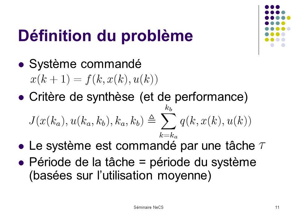 Séminaire NeCS11 Définition du problème Système commandé Critère de synthèse (et de performance) Le système est commandé par une tâche Période de la tâche = période du système (basées sur lutilisation moyenne)
