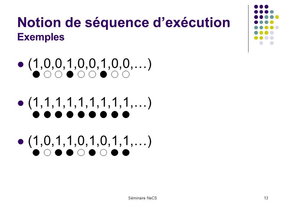 Séminaire NeCS13 Notion de séquence dexécution Exemples (1,0,0,1,0,0,1,0,0,…) (1,1,1,1,1,1,1,1,1,…) (1,0,1,1,0,1,0,1,1,…)