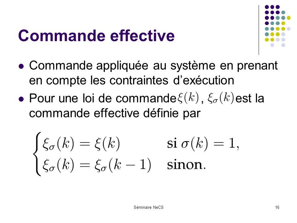 Séminaire NeCS16 Commande effective Commande appliquée au système en prenant en compte les contraintes dexécution Pour une loi de commande, est la commande effective définie par
