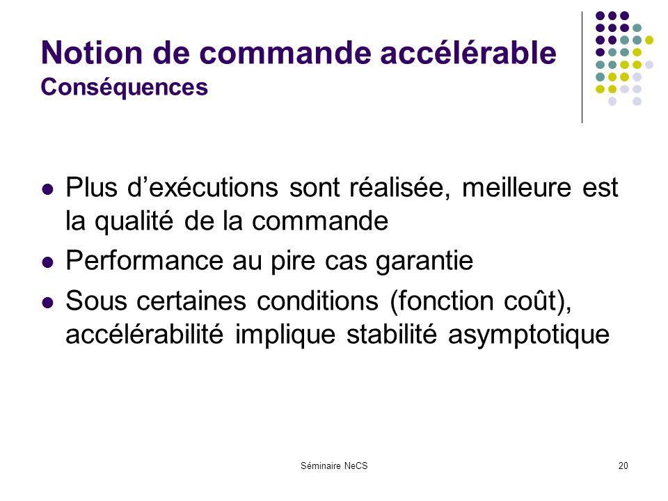 Séminaire NeCS20 Notion de commande accélérable Conséquences Plus dexécutions sont réalisée, meilleure est la qualité de la commande Performance au pire cas garantie Sous certaines conditions (fonction coût), accélérabilité implique stabilité asymptotique
