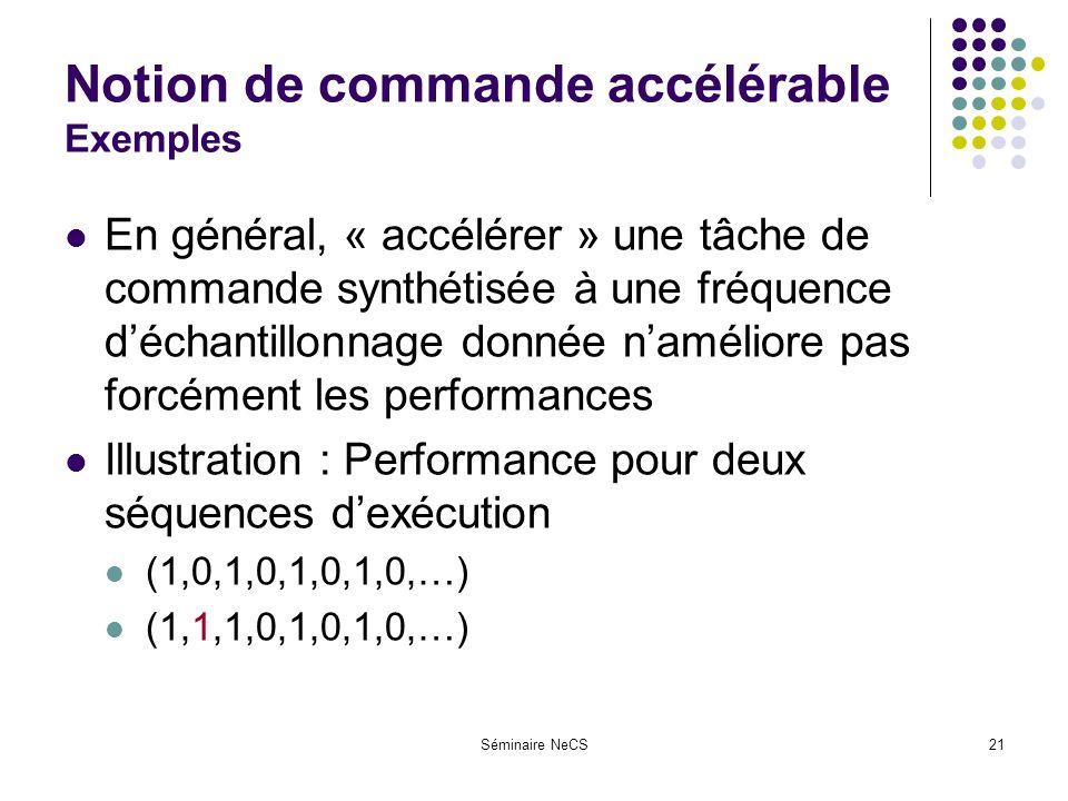 Séminaire NeCS21 Notion de commande accélérable Exemples En général, « accélérer » une tâche de commande synthétisée à une fréquence déchantillonnage donnée naméliore pas forcément les performances Illustration : Performance pour deux séquences dexécution (1,0,1,0,1,0,1,0,…) (1,1,1,0,1,0,1,0,…)