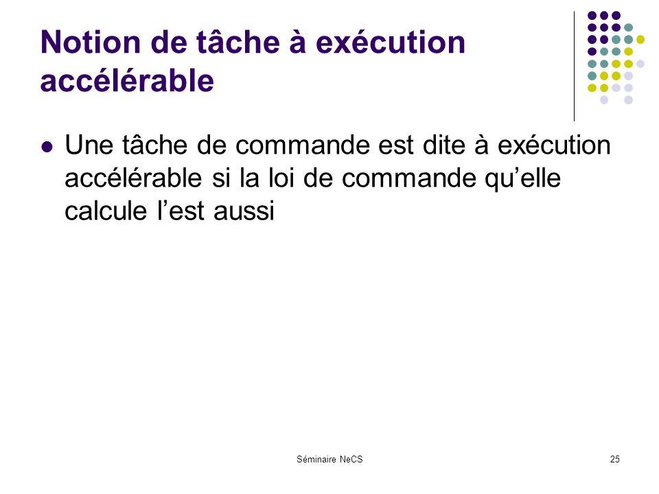 Séminaire NeCS25 Notion de tâche à exécution accélérable Une tâche de commande est dite à exécution accélérable si la loi de commande quelle calcule lest aussi