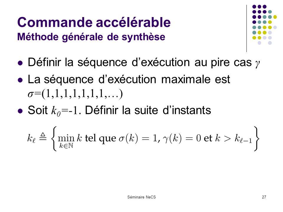 Séminaire NeCS27 Commande accélérable Méthode générale de synthèse Définir la séquence dexécution au pire cas γ La séquence dexécution maximale est σ=(1,1,1,1,1,1,1,…) Soit k 0 =-1.