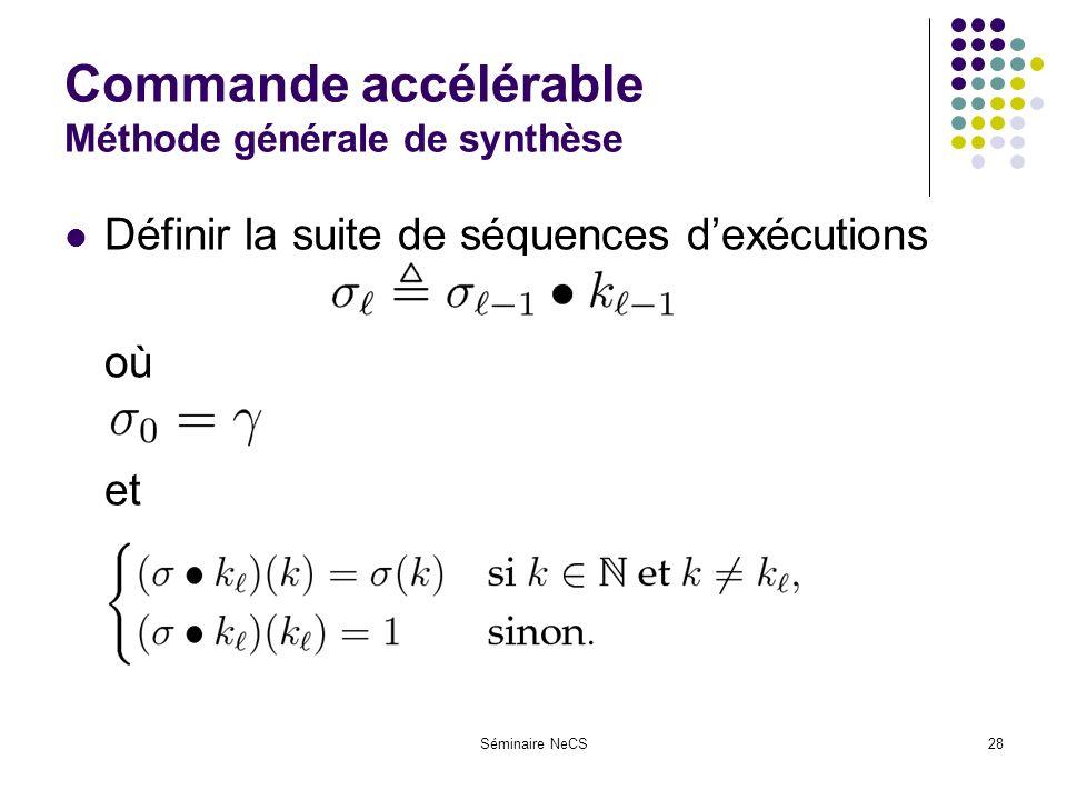 Séminaire NeCS28 Commande accélérable Méthode générale de synthèse Définir la suite de séquences dexécutions où et