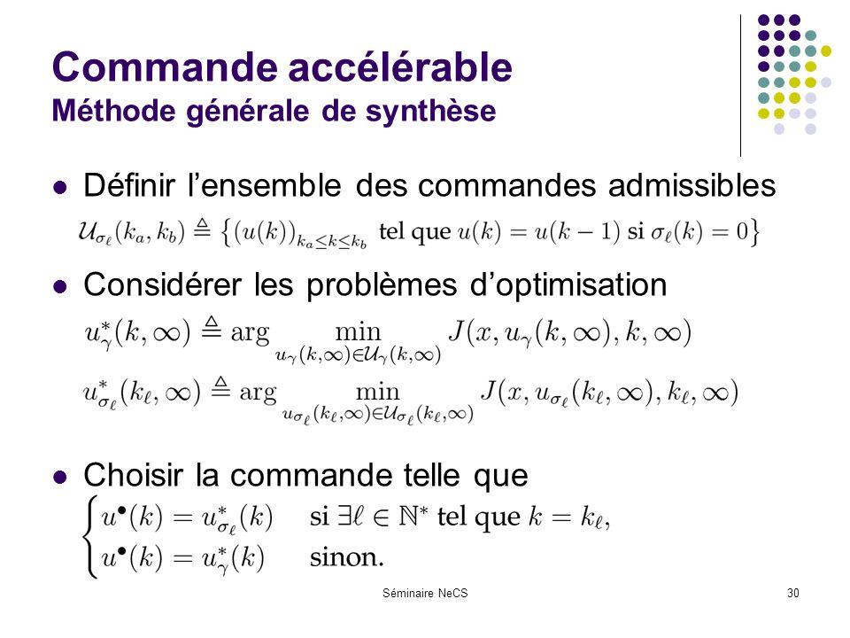 Séminaire NeCS30 Commande accélérable Méthode générale de synthèse Définir lensemble des commandes admissibles Considérer les problèmes doptimisation Choisir la commande telle que