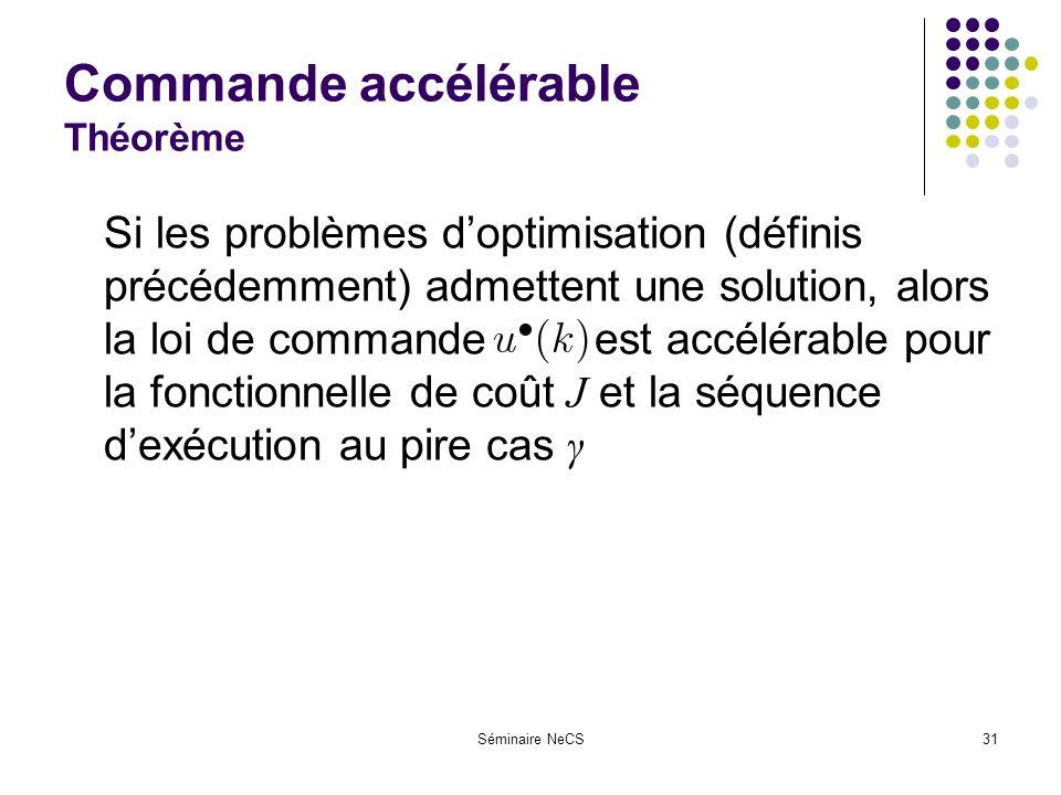 Séminaire NeCS31 Commande accélérable Théorème Si les problèmes doptimisation (définis précédemment) admettent une solution, alors la loi de commande ---- est accélérable pour la fonctionnelle de coût J et la séquence dexécution au pire cas γ