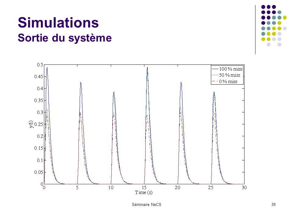 Séminaire NeCS39 Simulations Sortie du système