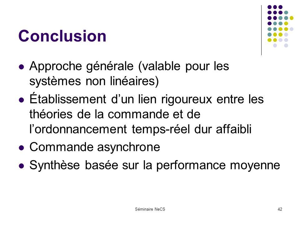 Séminaire NeCS42 Conclusion Approche générale (valable pour les systèmes non linéaires) Établissement dun lien rigoureux entre les théories de la commande et de lordonnancement temps-réel dur affaibli Commande asynchrone Synthèse basée sur la performance moyenne