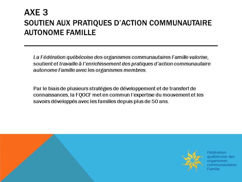 SITUATION ACTUELLE _________________________________________ Cause historiquement sous-financée; Majorité des efforts investis dans la communication auprès des membres (membres isolés, territoire étendu); Aucune communication grand public na été réalisée; Ministère de la Famille, port dattache Financement par Avenir denfants (Fondation André et Lucie Chagnon et MF) pour la mise en place de Communautés de pratiques et de savoirs (CPS) partout au Québec; Capacité didentifier de nouveaux enjeux pour les OCF; Volonté réelle des membres (OCF) de se faire connaître et reconnaître par le grand public; Nombreux agents multiplicateurs, mais pas de message clair (complexité des messages); Accent sociétal sur les enfants et leur développement optimal et rôle du parent comme moteur de développement de lenfant.