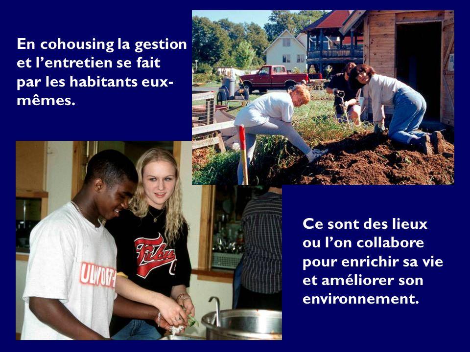En cohousing la gestion et lentretien se fait par les habitants eux- mêmes.