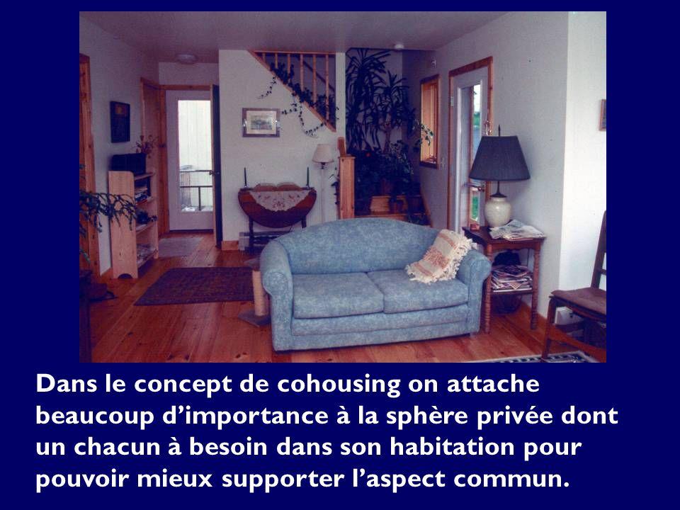 Dans le concept de cohousing on attache beaucoup dimportance à la sphère privée dont un chacun à besoin dans son habitation pour pouvoir mieux support