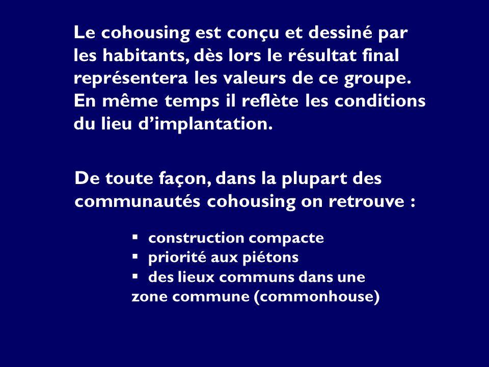 construction compacte priorité aux piétons des lieux communs dans une zone commune (commonhouse) Le cohousing est conçu et dessiné par les habitants, dès lors le résultat final représentera les valeurs de ce groupe.