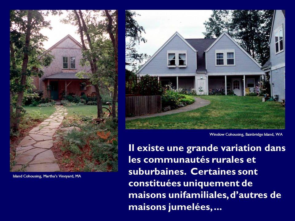 Il existe une grande variation dans les communautés rurales et suburbaines. Certaines sont constituées uniquement de maisons unifamiliales, dautres de
