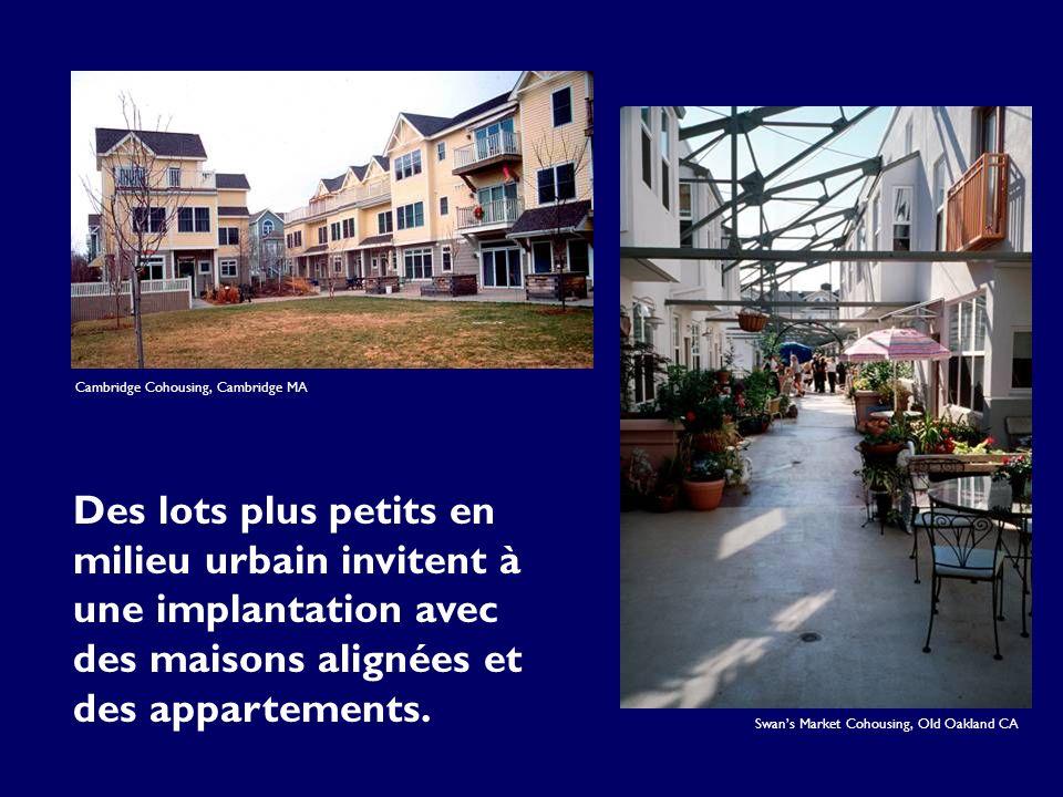 Cambridge Cohousing, Cambridge MA Des lots plus petits en milieu urbain invitent à une implantation avec des maisons alignées et des appartements.