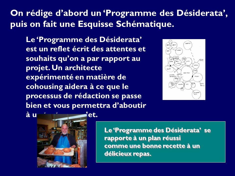 On rédige dabord un Programme des Désiderata, puis on fait une Esquisse Schématique. Le Programme des Désiderata est un reflet écrit des attentes et s