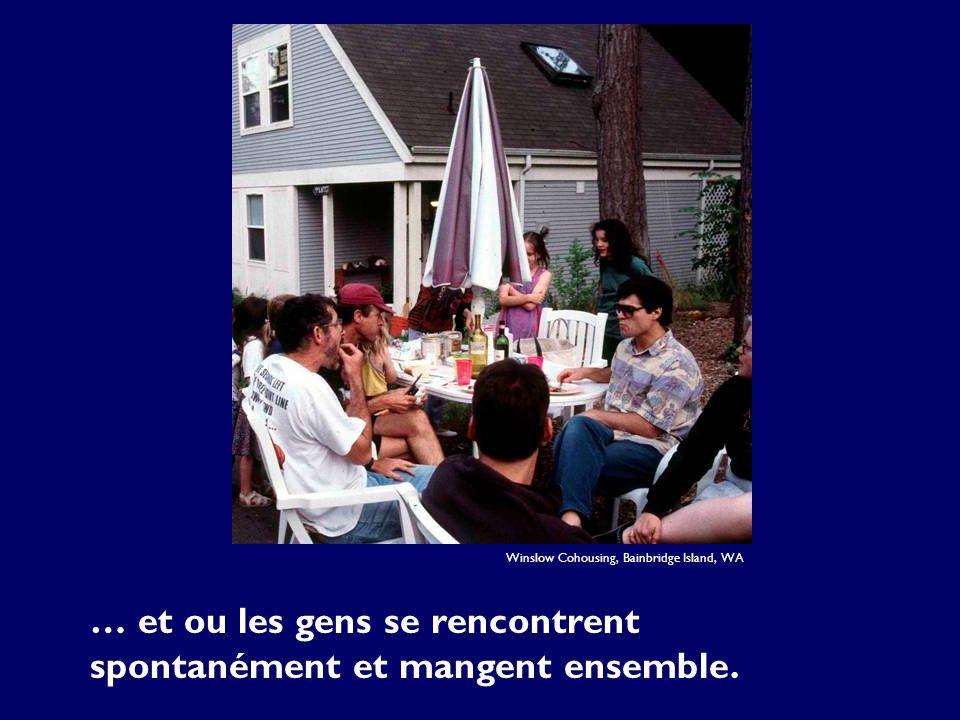 … et ou les gens se rencontrent spontanément et mangent ensemble. Winslow Cohousing, Bainbridge Island, WA