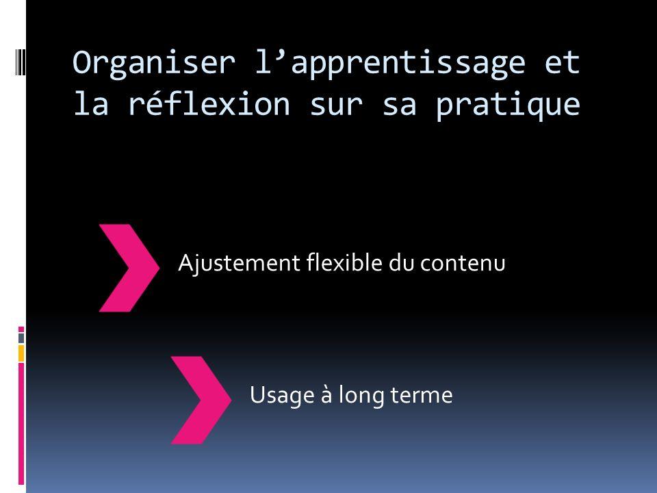 Organiser lapprentissage et la réflexion sur sa pratique Usage à long termeAjustement flexible du contenu