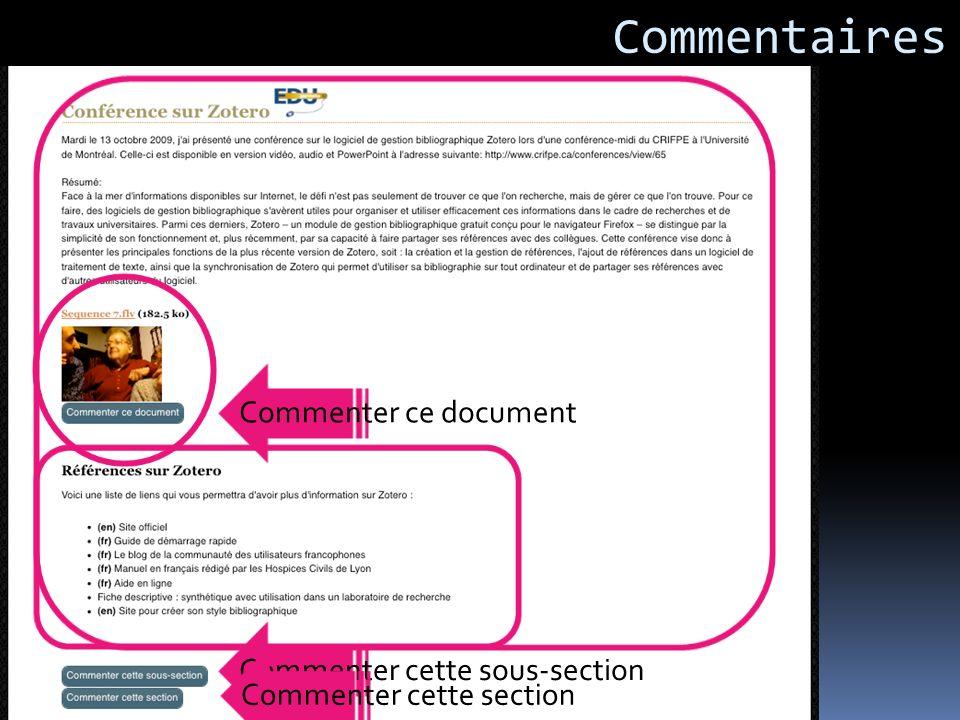 Commenter cette sous-section Commenter ce document Commenter cette section Commentaires