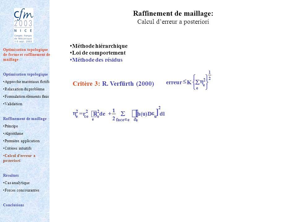 Raffinement de maillage: Calcul derreur a posteriori Méthode hiérarchique Loi de comportement Méthode des résidus eface e 2 u dlD)u(h 2 1 e 2 ece deR
