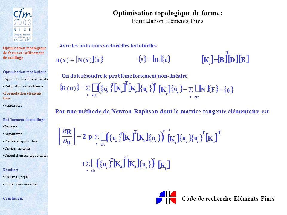 Optimisation topologique de forme: Formulation Eléments Finis Avec les notations vectorielles habituelles u B u )x(N)x(u T BDB e K = On doit résoudre