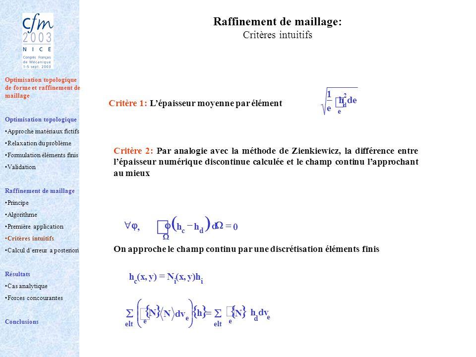 Raffinement de maillage: Critères intuitifs Critère 1: Lépaisseur moyenne par élément e 2 deh e 1 d On approche le champ continu par une discrétisatio