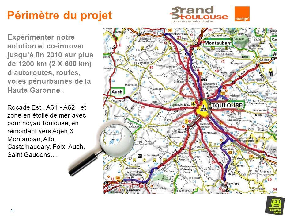 10 Périmètre du projet Expérimenter notre solution et co-innover jusquà fin 2010 sur plus de 1200 km (2 X 600 km) dautoroutes, routes, voies périurbaines de la Haute Garonne : Rocade Est, A61 - A62 et zone en étoile de mer avec pour noyau Toulouse, en remontant vers Agen & Montauban, Albi, Castelnaudary, Foix, Auch, Saint Gaudens....