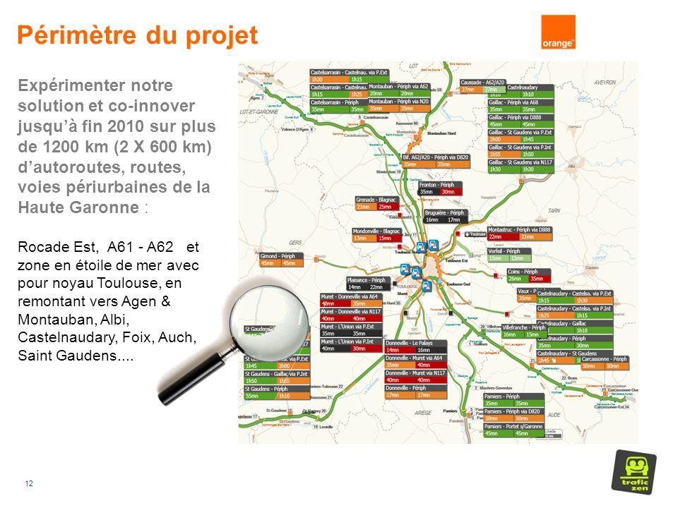12 Expérimenter notre solution et co-innover jusquà fin 2010 sur plus de 1200 km (2 X 600 km) dautoroutes, routes, voies périurbaines de la Haute Garonne : Rocade Est, A61 - A62 et zone en étoile de mer avec pour noyau Toulouse, en remontant vers Agen & Montauban, Albi, Castelnaudary, Foix, Auch, Saint Gaudens....