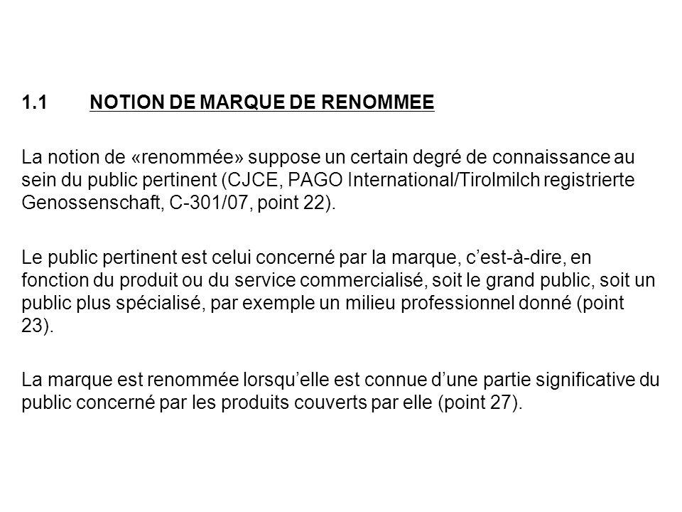 En nexigeant pas que la renommée sétende au-delà du public pertinent, la Cour de Justice met sur le même pied « la marque de renommée » et la « marque notoirement connue » au sens de larticle 6bis de la Convention de Paris.