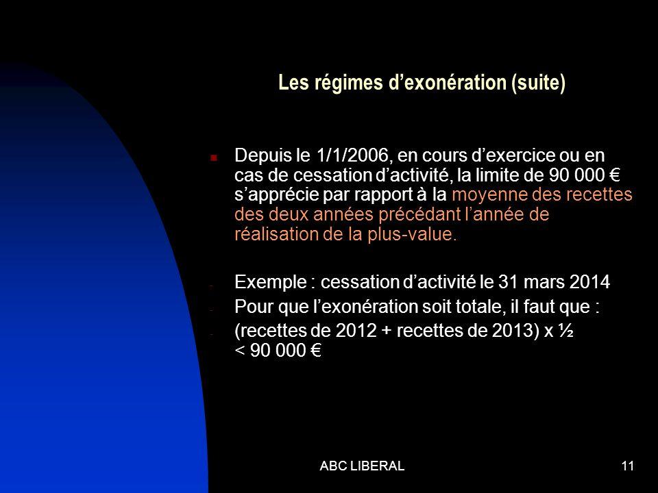 ABC LIBERAL11 Les régimes dexonération (suite) Depuis le 1/1/2006, en cours dexercice ou en cas de cessation dactivité, la limite de 90 000 sapprécie par rapport à la moyenne des recettes des deux années précédant lannée de réalisation de la plus-value.