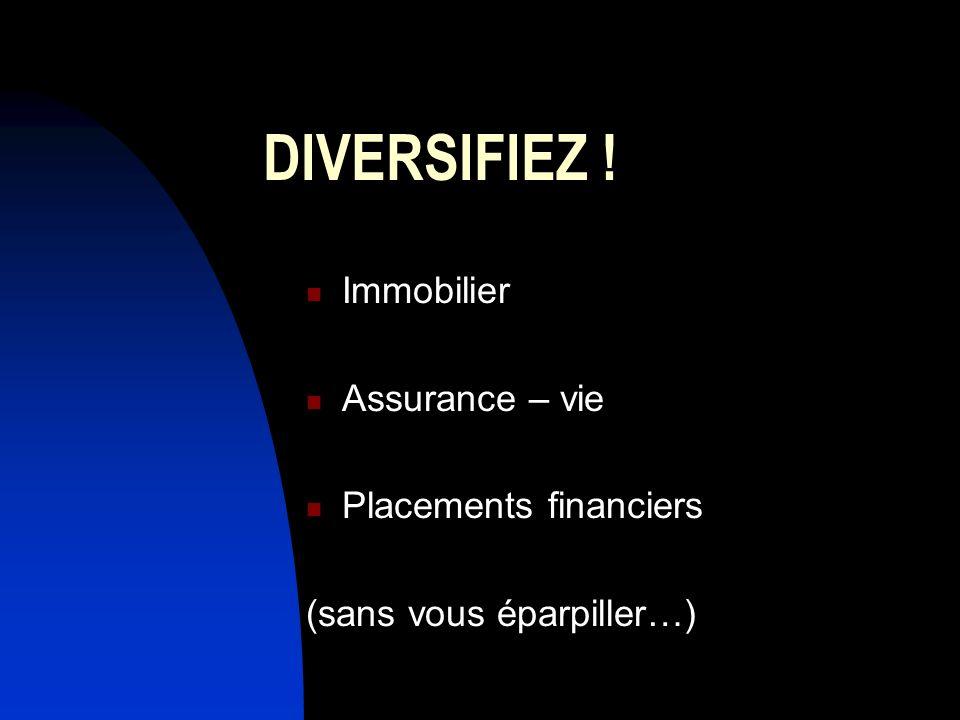 DIVERSIFIEZ ! Immobilier Assurance – vie Placements financiers (sans vous éparpiller…)