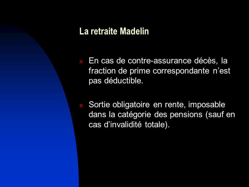 La retraite Madelin En cas de contre-assurance décès, la fraction de prime correspondante nest pas déductible. Sortie obligatoire en rente, imposable